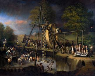 Peale's oil on canvas of men at a water wheel gathering water.