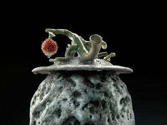 A detail of Lee's 'Lychee Nut Urn' showing the lychee fruit.