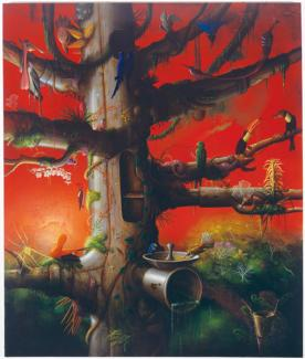Rockman's oil painting of a tree and different types of birds on the branches.