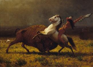 Bierstadt's oil on canvas of a man on a horse attacking a buffalo.
