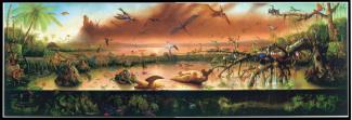 Rockman's oil painting of a scene in water with many different types of animals.