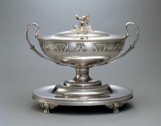 An image of a silver soup tureen made by Jacques-Henri Fauconnier.