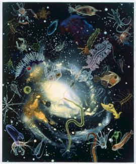 Rockman's oil painting of different types of creatures in space.