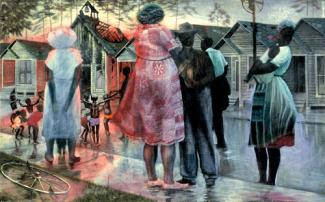 Biggers' oil painting of adults in the street watching their children play with houses in the background.