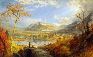 Cropsey's oil on canvas of a landscape in Pennsylvania with figures in the foreground, a lake in the middle ground and mountains in the background.