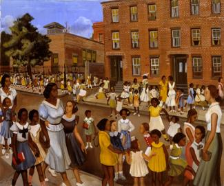 Crite's oil painting of children and adults gathered outside of a school.