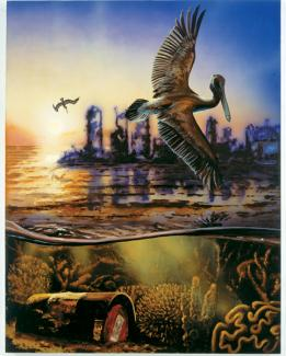 Rockman's oil painting with water and a pelican flying above the water.