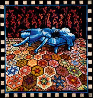 An image of Schaechter's glass piece with a woman laying halfway on the floor and halfway on a bed.