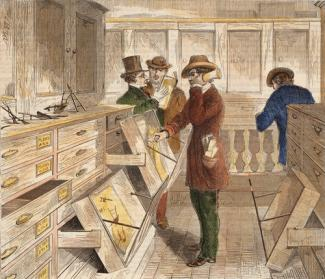 Davis' hand-colored wood engraving of examiners at work in the patent office.