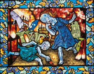 An image of Schaechter's glass piece with two women in the foreground and a scene of burning disaster in the background.