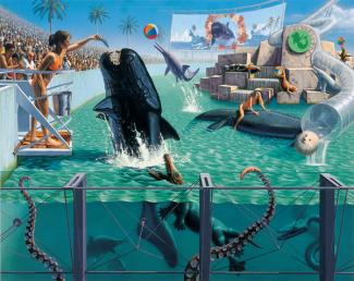 Rockman's oil painting of a trainer feeding a fish at Sea World with a crowd watching.