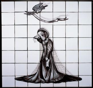 Schaechter's glass work of a figure and a bird flying overhead.