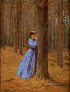 Homer's oil on canvas of a woman writing on a tree in the forest.