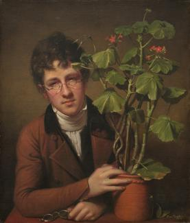 Peale's oil on canvas of Rubens Peale posed with geranium flowers.