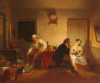 Edmonds' oil on canvas of a scene in a kitchen with three figures.