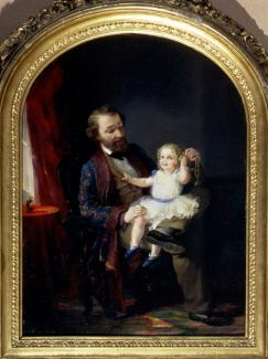 Spencer's oil on board of a father with his young daughter on his lap.