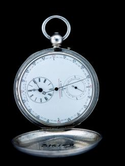 An image of a chronodometer pocket watch in silver.