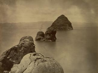 O'Sullivan's albumen print of Tufa Domes in Pyramid Lake, Nevada.