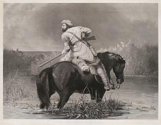 Ranney's lithograph of a man on a horse in water with a gun.