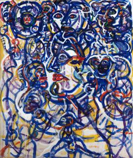 Gentry's acrylic painting in red, yellow, and blue of swirly lines that form different faces.