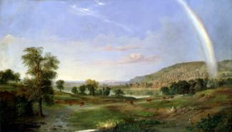 Duncanson's oil on canvas of a landscape painting with a rainbow.