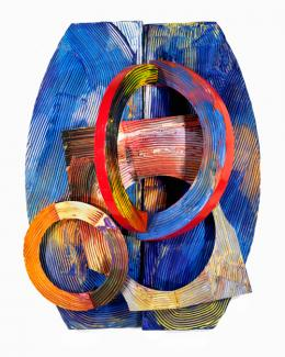 Gilliam's mixed media object in red, orange, yellow and blue.