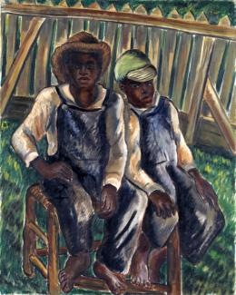 Johnson's oil painting of two brothers sitting in a chair.