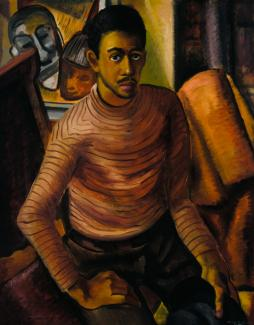 Johnson's oil painting of a self-portrait where he is sitting in a chair.