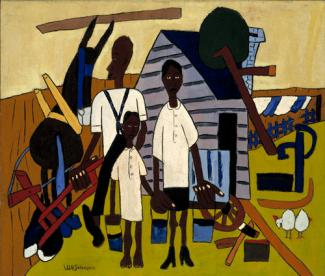 Johnson's oil painting of a family doing chores around the farm.