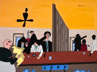 Lawrence's gouache painting of a bar scene.