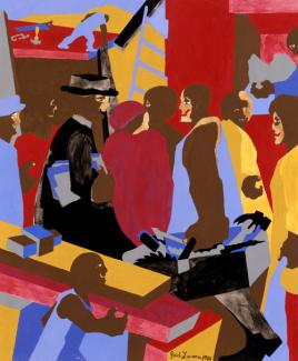 Lawrence's gouache painting of figures gathering in an interior space.