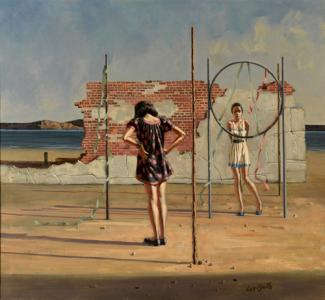 Lee-Smith's oil painting of two girls and one hula hoop.