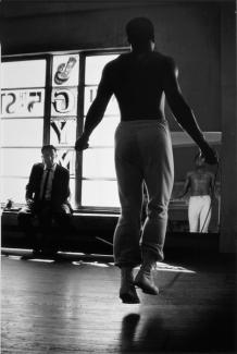Parks' gelatin silver print of Ali jumping with a jumprope.