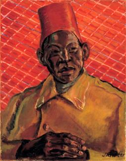 Porter's oil painting of a man wearing yellow with a red hat against a red background.