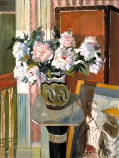 Porter's oil on canvas of a small table with a vase of flowers.