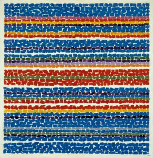 Thomas' acrylic painting of horizontal lines formed by circles in different colors.