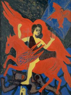Thompson's oil painting of a woman riding a flying horse.