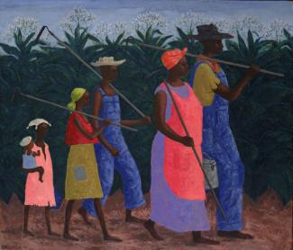 Wilson's oil painting of six figures walking in a field.