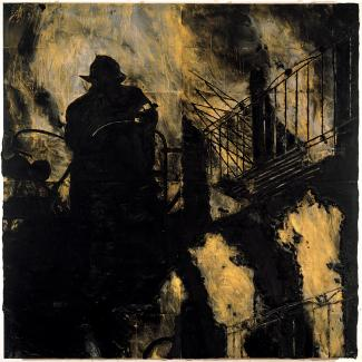 A painting in yellow and black with a fireman in silhouette.