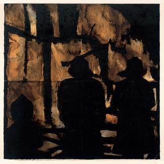 A panting in yellow and black with three firemen in silhouette.