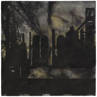 A painting of an industrial plant at night.