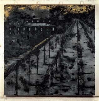 A painting of a train tracks going to Auschwitz.