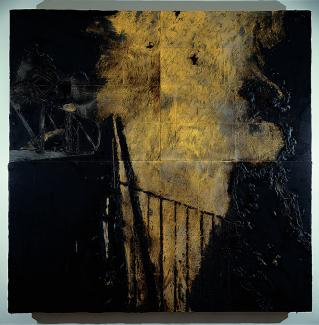 A painting in yellow and black of a fire at night.