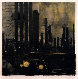 A painting of an industrial area at night.