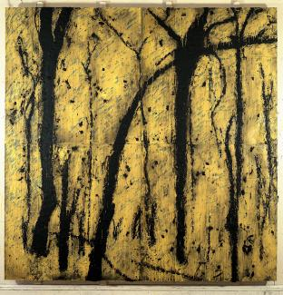 A painting with a yellow background and black lines.