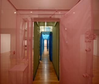 Pink hallway of Hub sculpture