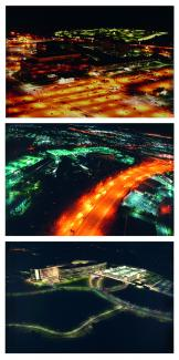 Three photographs depicting the different agencies at night.