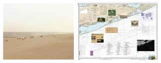 The piece on the left is an image of a beach and the piece on the right is an arial map with sites pinpointed and images.