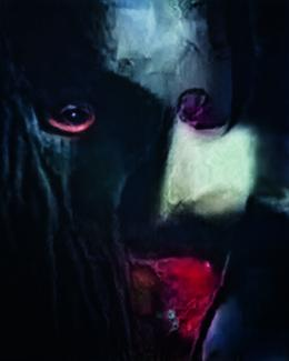 An image of a masked figure with blood around their mouth.