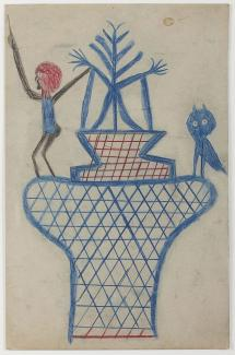 A colored pencil drawing of a basket with a man and owl on top.